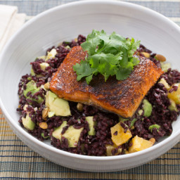 Mexican Spiced Salmonwith Black Rice, Avocado and Orange Salad