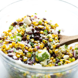 Mexican Street Corn Salad with Black Beans and Avocados