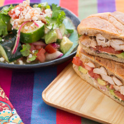 Mexican-Style Chicken Tortaswith Tomato, Avocado and Cucumber Salad