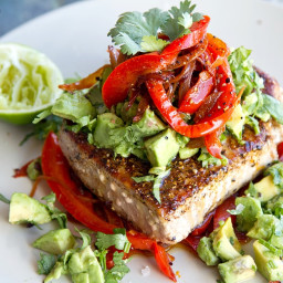 Mexican Tuna Steak, Sweet Red Peppers and Avocado Salsa