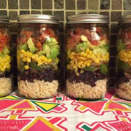 Mexican Vegan Burrito Bowl Mason Jar Salad