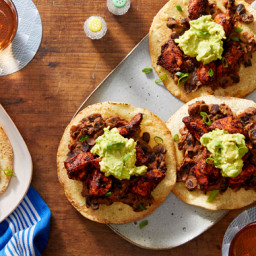 Mexico City Chicken Tinga Tostadas with Avocado & Refried Beans