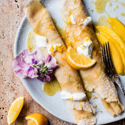 Meyer Lemon Chamomile Crepes with Greek Yogurt