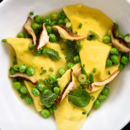 Mezzelune Pasta With Peas and Shiitake Mushrooms