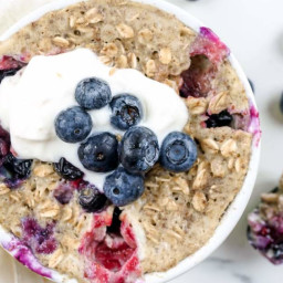 Microwave Blueberry Oatmeal Muffin