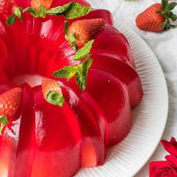 Milk Strawberry Jell-O Mold Bundt