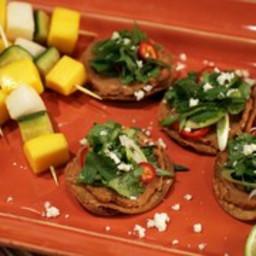 Mini Bean Tostadas with Marinated Vegetable Skewers
