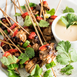 Mini Chicken Satay Skewers with Thai Peanut Dipping Sauce - served 4 ways