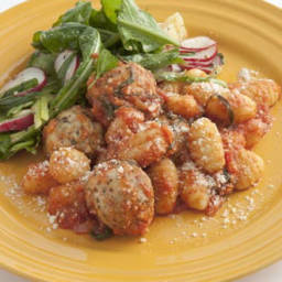 Mini Chicken Sausage Meatballs with Gnocchi and Tomato Sauce