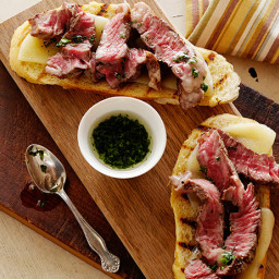 Mini Open Faced Steak Sandwiches on Garlic Bread with Aged Provolone and Pa