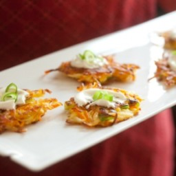 Mini Potato-Carrot Pancakes with Festive Sour Cream