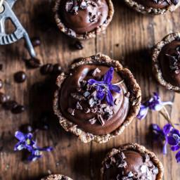 Mini Vegan No-Bake Chocolate Mocha Fudge and Coconut Tarts