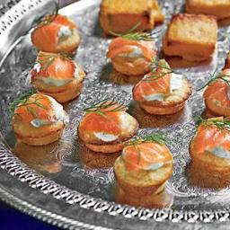 Mini Corn Cakes with Smoked Salmon and Dill Crème Fraîche