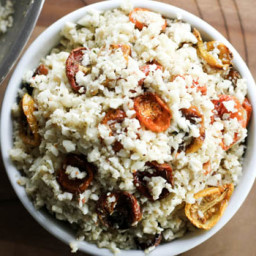 Mini Roasted Heirloom Tomatoes with Creamy Cauliflower Rice