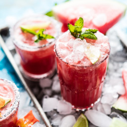 Minty Watermelon Cucumber Margarita.