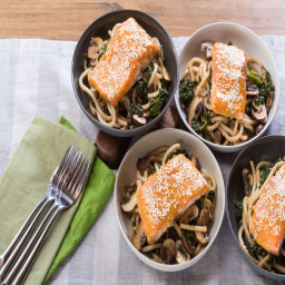 Miso and Maple-Glazed Salmonwith Fresh Udon Noodles and Cremini Mushrooms