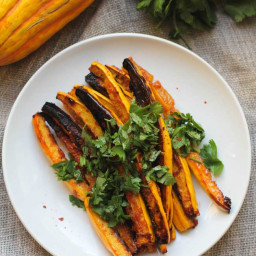 Miso and Red Curry Glazed Delicata Squash Fries (Gluten Free and Vegan)