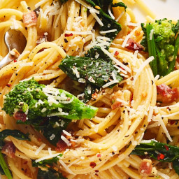 Miso Carbonara with Broccoli Rabe and Red-Pepper Flakes
