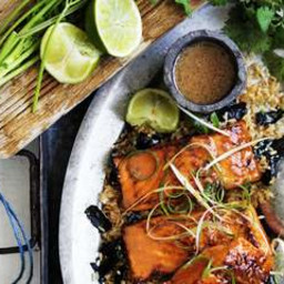 Miso-crusted ocean trout with stir-fried brown rice and nori