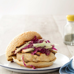 Miso-Glazed Chicken Burgers with Cabbage-Apple Slaw
