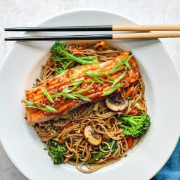 Miso Glazed Salmon With Sesame Soba Noodles