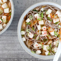Miso-Kimchi Soba Noodle Soup Mason Jars