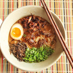 Miso Ramen With Crispy Pork and Burnt Garlic-Sesame Oil
