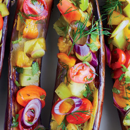 Miso-Roasted Eggplants with Tomatoes, Dill, Shiso and Black Vinegar