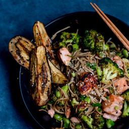 Miso Salmon, Eggplant & Soba Noodle Stir-Fry