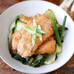 Miso Salmon with Sesame Bok Choy