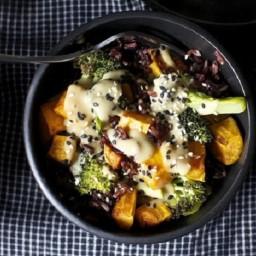 Miso sweet potato and broccoli bowl