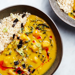 Miso-Tahini Squash Soup with Brown Rice