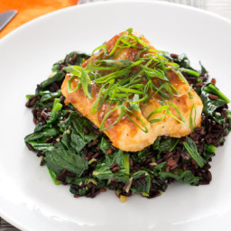 Miso Yuzu-Glazed Cod with Black Rice and Water Spinach