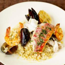 Mixed fish grill with lemon couscous