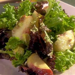 Mixed Green Salad with Diced Avocado, Peaches, Crispy Bacon, Feta Cheese an