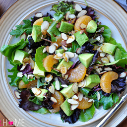 Mixed Greens Salad with Mandarins, Toasted Almonds, & Sesame Ginger Vinaigr