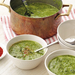 """Mixed Leafy Green Soup """"Caldo Verde"""" with Chickpeas"""