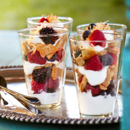 Mixed Summer Berry and Yogurt Parfaits with Toasted Coconut