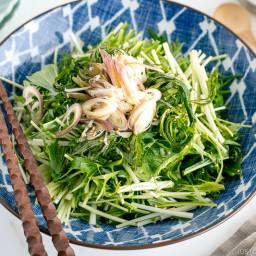 Mizuna Myoga Salad with Ponzu Sesame Dressing 水菜とミョウガのサラダ • Just One C