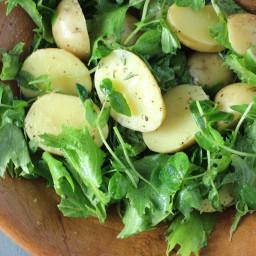 Mizuna, New Potatoes and Lemon Vinaigrette