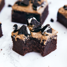 Mocha Brownies with Coffee Frosting and Oreos