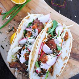 mochiko chicken tacos with tangy umeboshi mayo