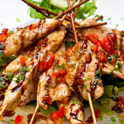 Moist Chicken Skewers with Balsamic Tomato Drizzle