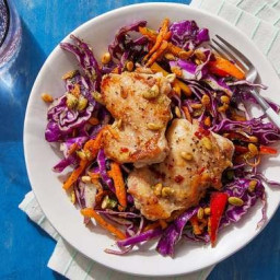 Mojo-Style Chicken Thighs with Cilantro Slaw & Garlic-Lime Pepitas