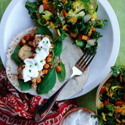 Moroccan Chickpea Gyro & Golden Kale Salad