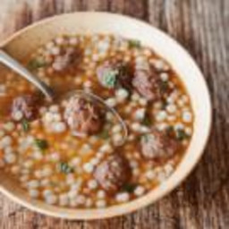 Moroccan Lamb Meatball and Couscous Soup