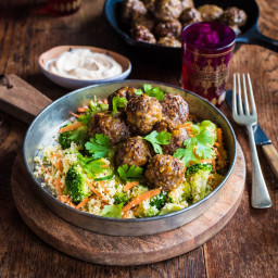 Moroccan Meatballs with Spinach Couscous Salad and Spiced Sour Cream
