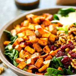 Moroccan Sweet Potato Salad with Candied Walnuts + Maple Dressing