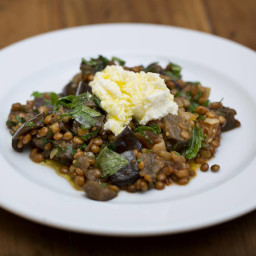 Moroccan Eggplant and Lentils with Pomegranate Molasses and Ricotta