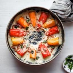 Mozzarella Stuffed Peppers in Sundried Tomato Cream Sauce
